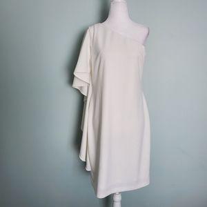 Calvin Klein White One Shoulder Ruffled Midi Dress